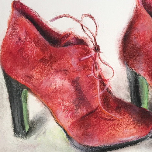 Rote Schuhe aus Velours